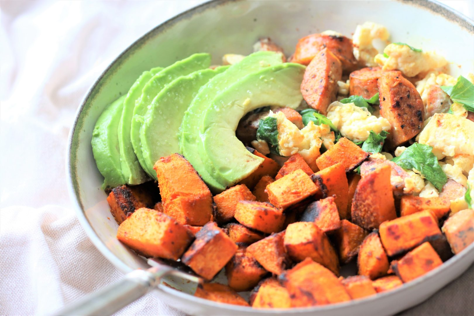 Sweet Potatoes with Power Greens Scramble - Grabsomejoy.com